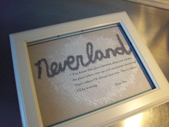 Neverland print, unframed 8 x 10 poster, Peter Pan wall sign - Sweet Meadow Designs