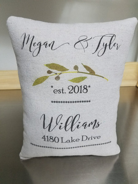 Cotton anniversary, personalized pillow, second marriage present - Sweet Meadow Designs