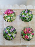 pretty floral magnets set of 4