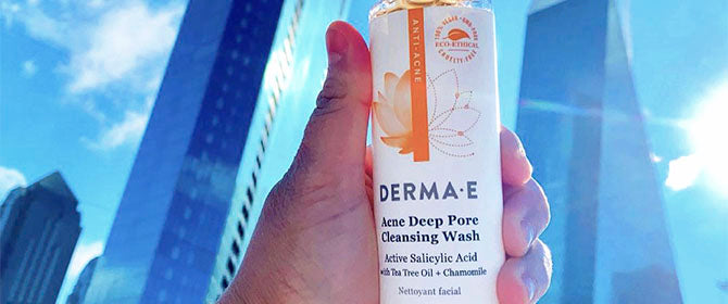 Close up of Derma E Acne Cleanser in the city