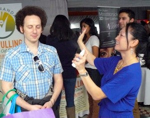 Glee's Josh Sussman enjoys a moment of zen with a spritz of Hydrating Mist
