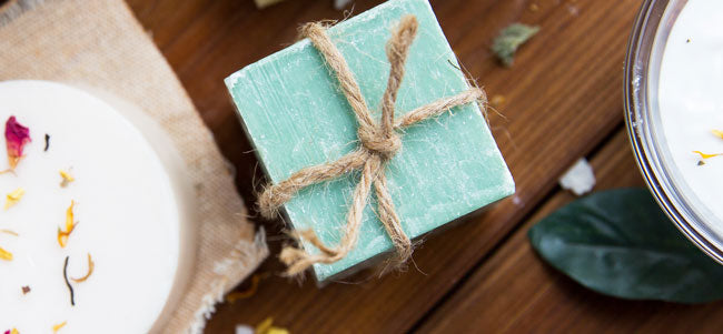 Soap bars on table