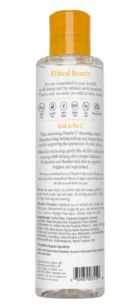 Vitamin C Micellar Cleansing Water Bottle Back Panel