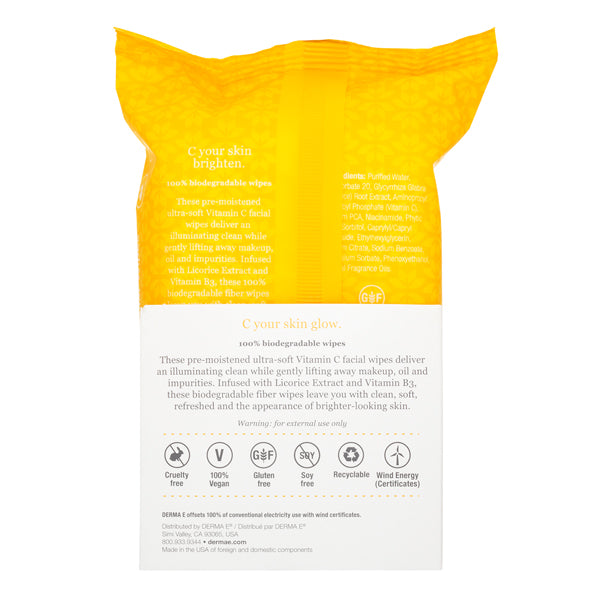 Vitamin C Brightening Glow Micellar Wipes Pouch Back Panel
