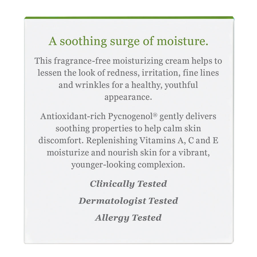 Sensitive Skin Moisturizing Cream Carton Back Panel