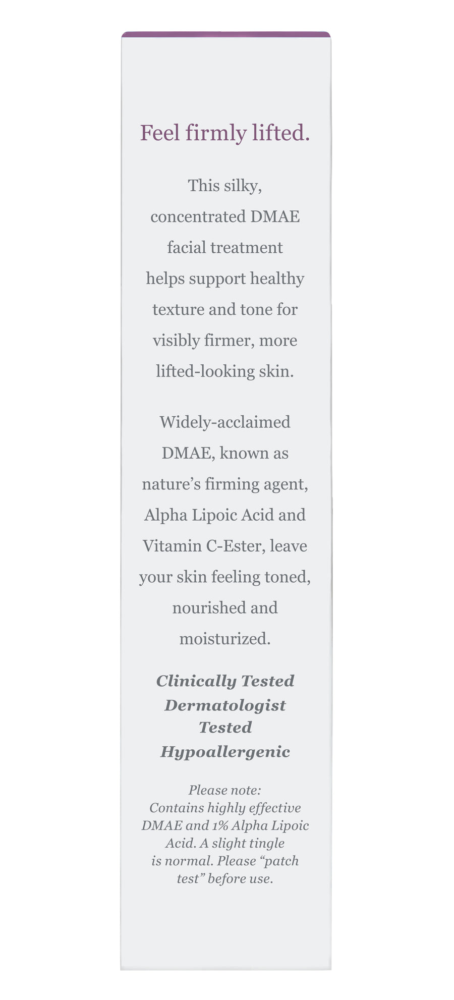 Firming DMAE Serum Carton Back Panel