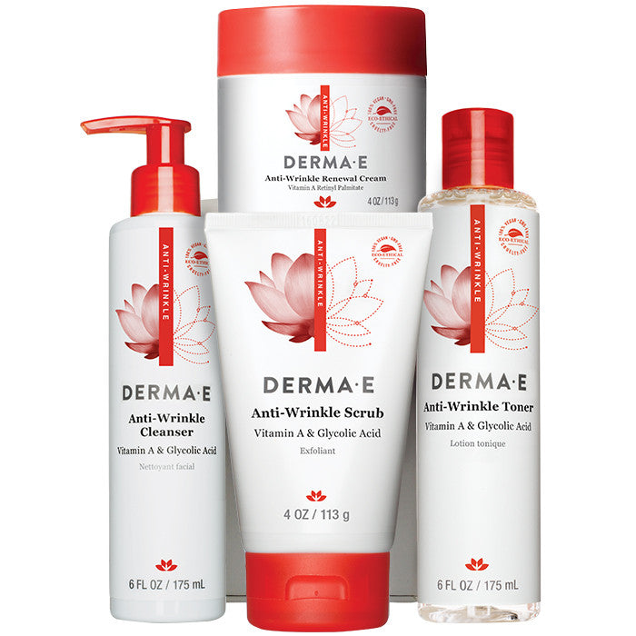Anti-Wrinkle Renewal Cream - 4 oz. by DERMA-E (pack of 4) Facial Toner Alcohol Free - 4 oz. by Honeybee Gardens (PACK OF 2)