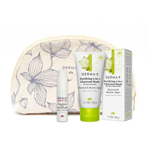 Pamper Yourself Kit - Nourishing Rose Cleansing Oil Bottle, Purifying Mask Tube and Carton, Cosmetic Bag