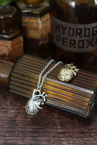 Anatomical Heart Necklace - Silver Tone