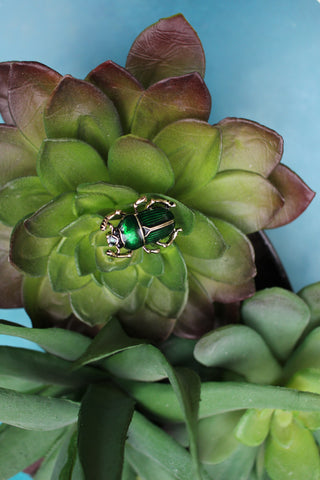 Green Scarab Beetle Brooch