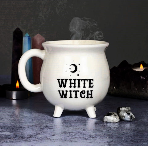 Cauldron Mug White Witch