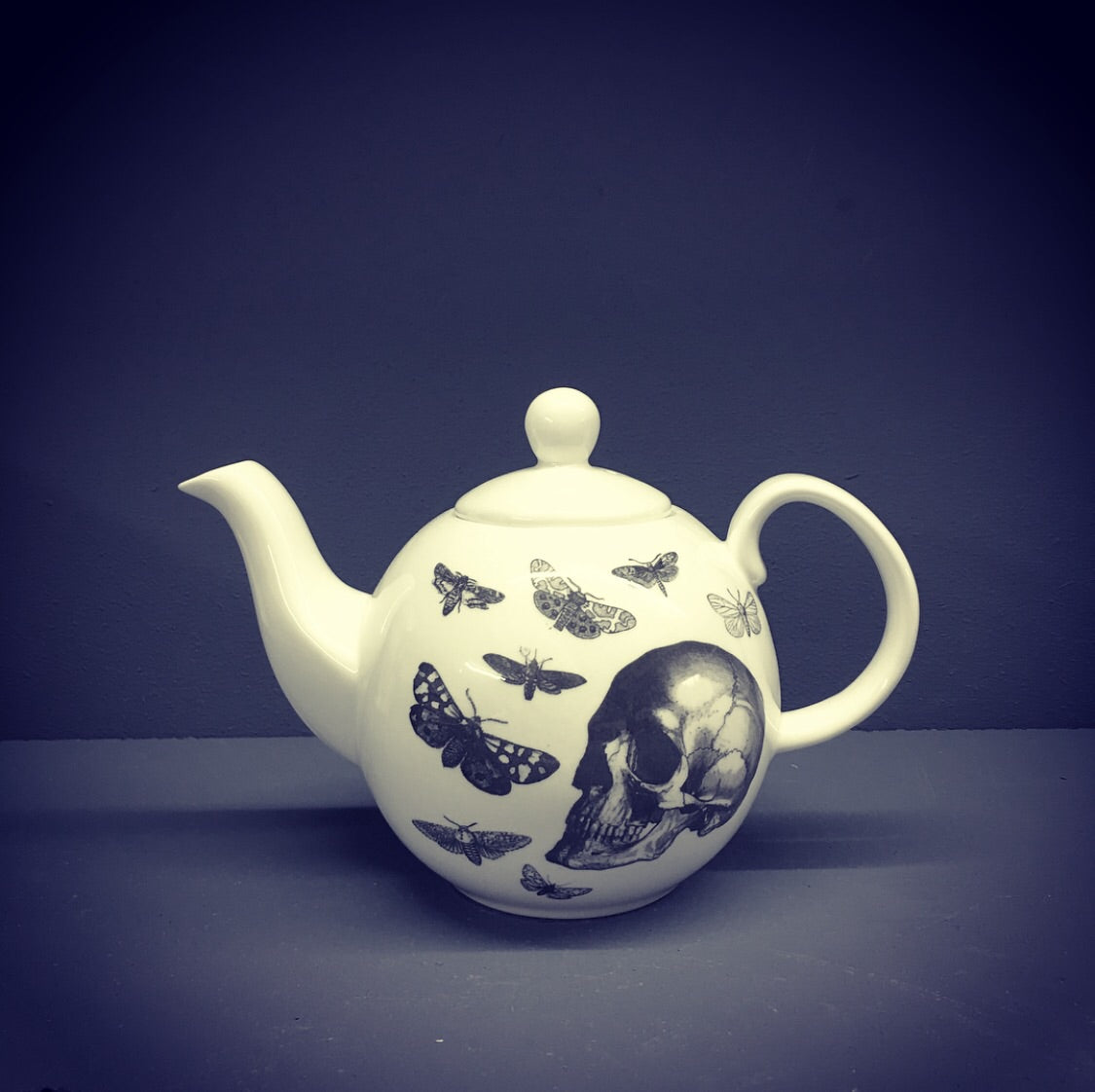 China Teapot - Skull & Moth