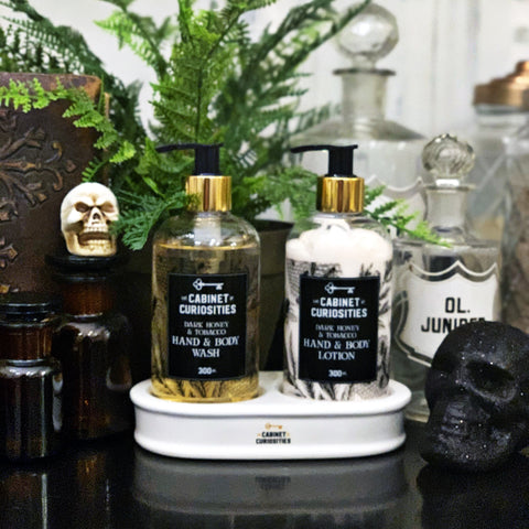 Hand Wash & Lotion Ceramic Stand Set - Dark Honey & Tobacco
