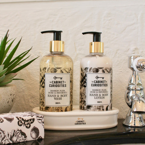 Hand Wash & Lotion Ceramic Stand Set - Damson, Rose & Patchouli