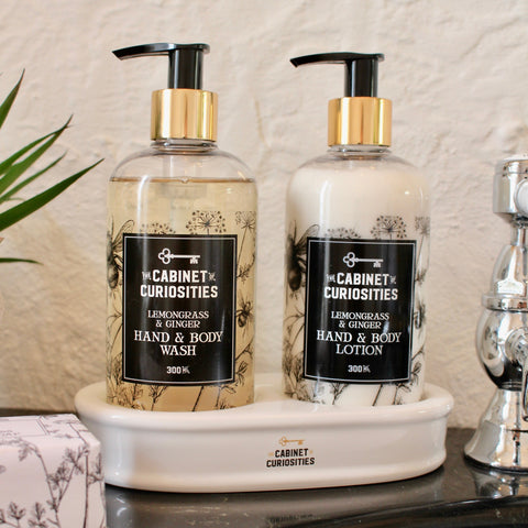 Hand Wash & Lotion Ceramic Stand Set - Lemongrass & Ginger
