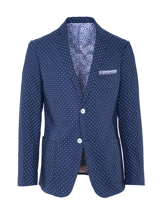 Dover Notch Patch Pkt Jacket - Navy & White Polkadot