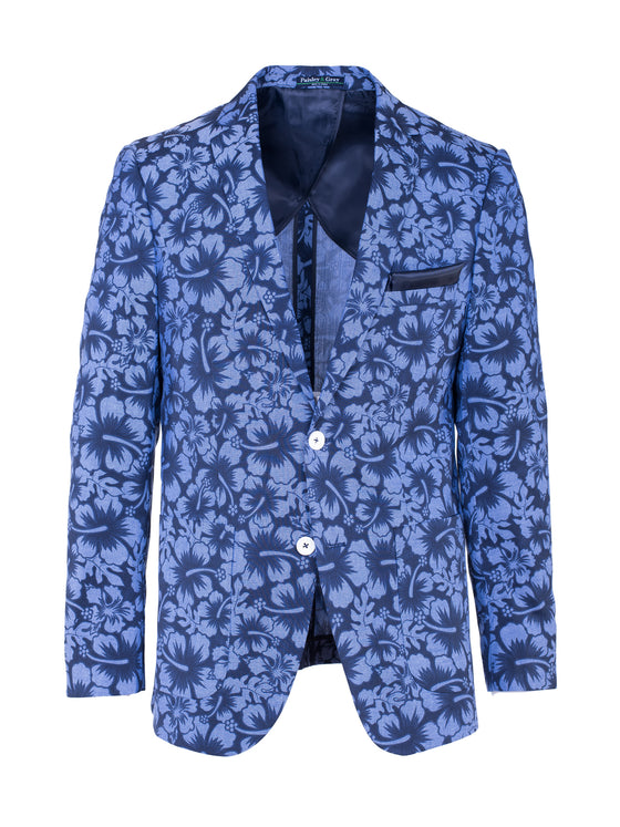 Dover Notch Blazer - Navy Hawaiian Print