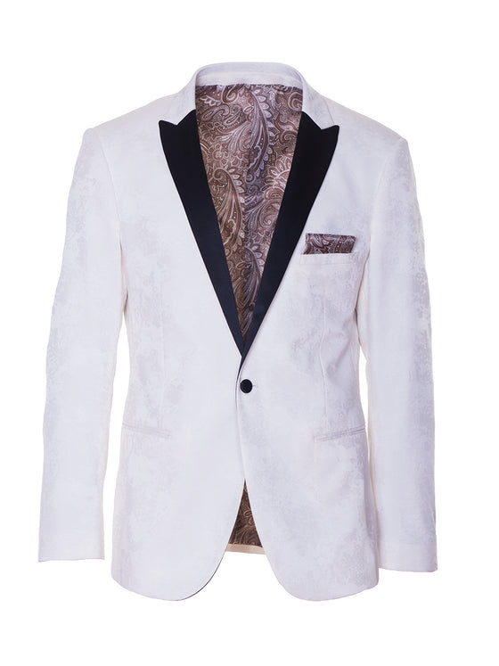 Grosvenor Peak Dinner Jacket - Cream Flocked