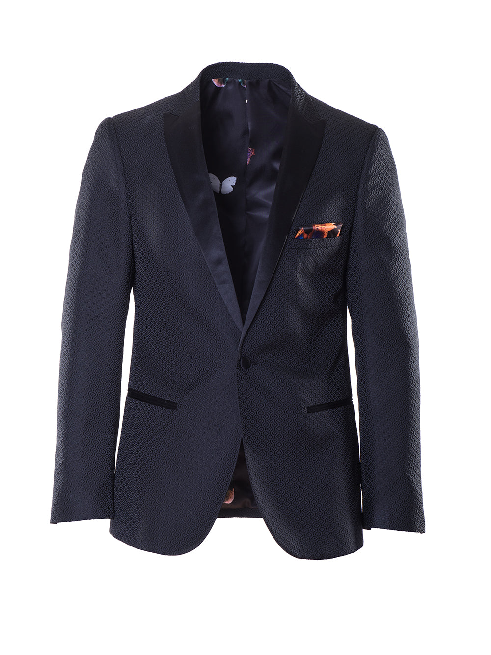 Grosvenor Peak Dinner Jacket - Black Jacquard