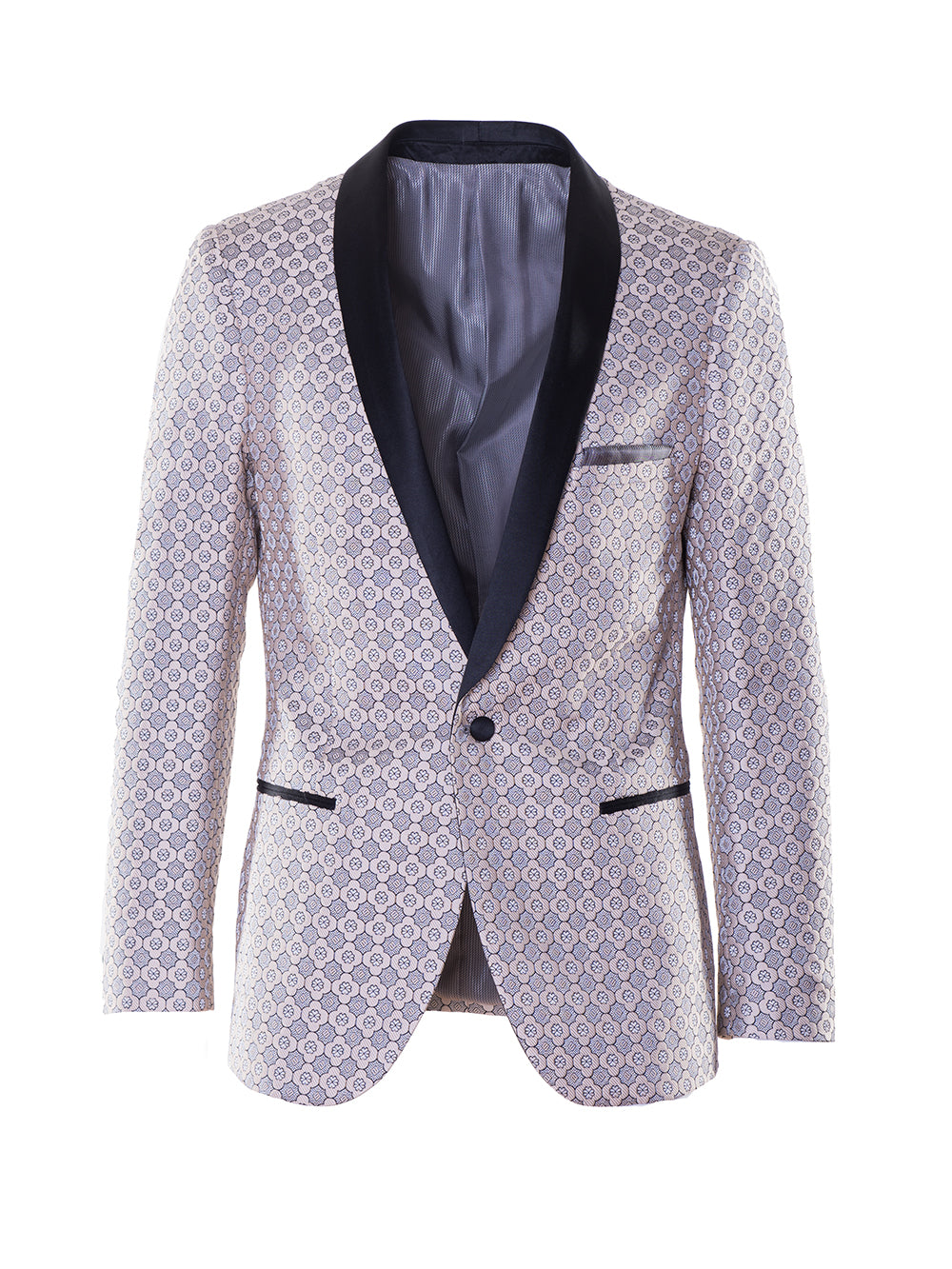 Regent Shawl Dinner Jacket - Cream Silver Jacquard