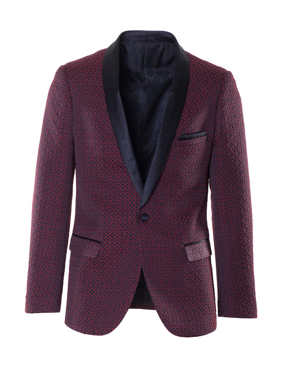 Regent Shawl Dinner Jacket - Black Red Jacquard
