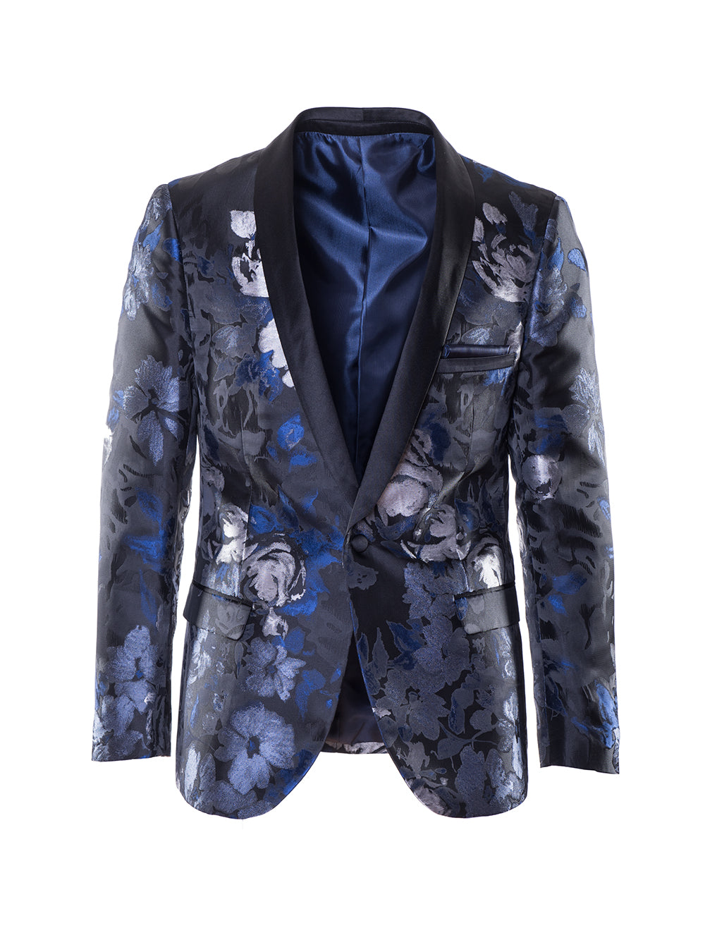 Regent Shawl Dinner Jacket - Black Blue Silver Floral Jacquard