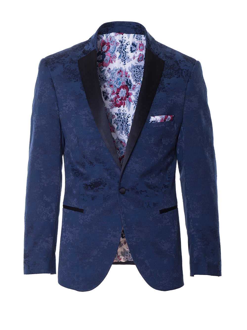 Osborne Notch Dinner Jacket - Navy Flocked
