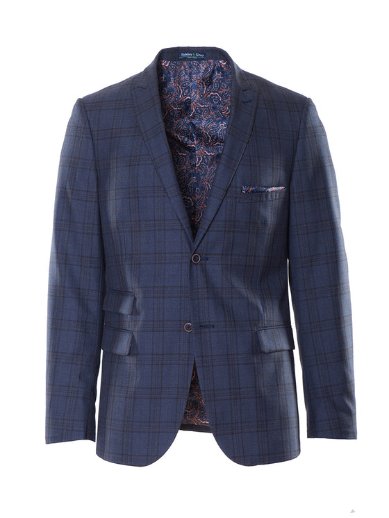 Ashton Peak Jacket - Dark Blue Windowpane Plaid