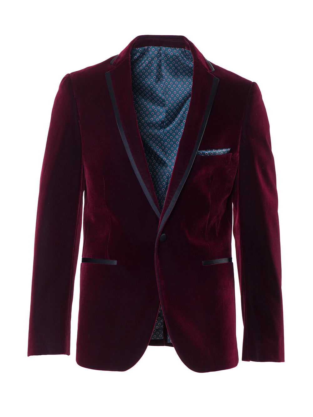 Osborne Notch Dinner Jacket - Maroon Velvet