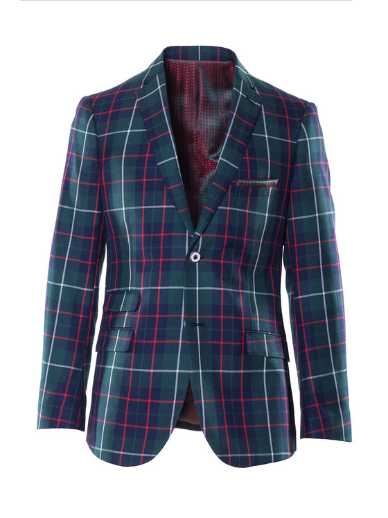 Dover Notch Jacket - Green Navy Red Tartan
