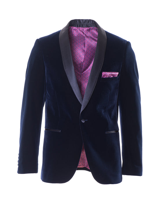 Regent Shawl Dinner Jacket - Navy Velvet