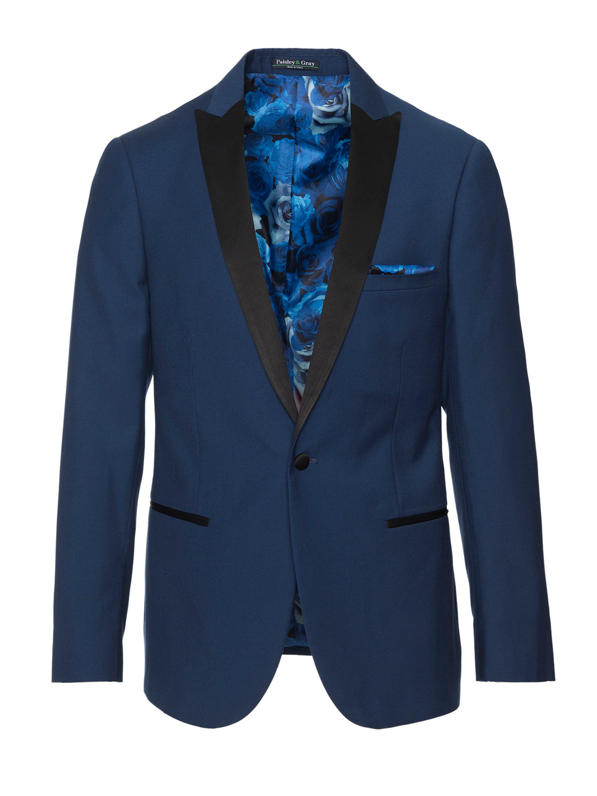 paisley & gray blue solid slim fit peak lapel basic tuxedo jacket 1894J blue monochromatic floral lining and pocket square black satin lapel, trim & buttons flap pockets