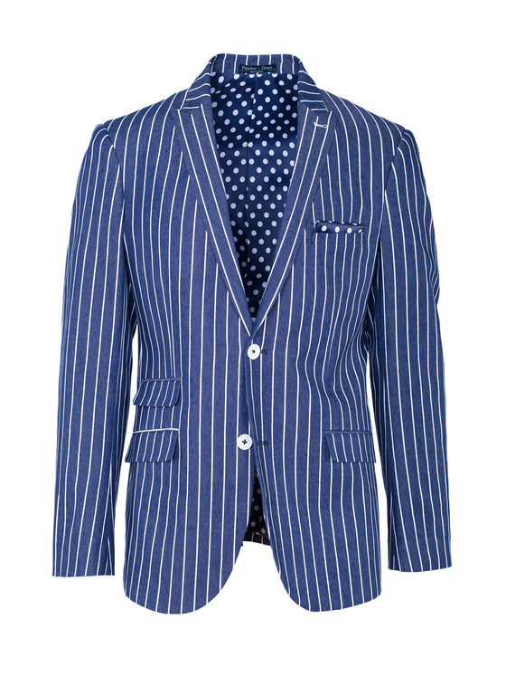 Ashton Peak Blazer -Denim & White Stripe