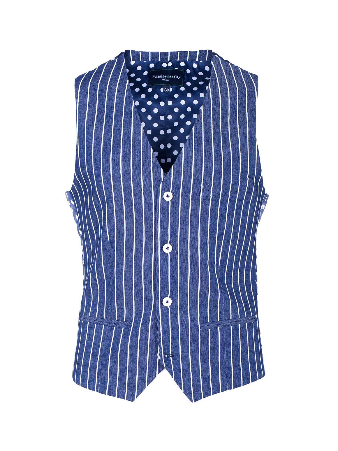 Eaton Vest - Denim & White Stripe