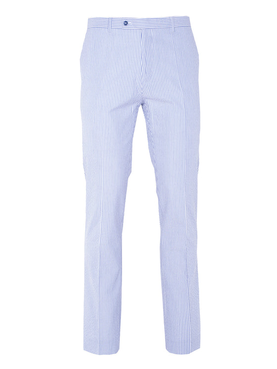 Camden Skinny Pants - White & Blue Seersucker