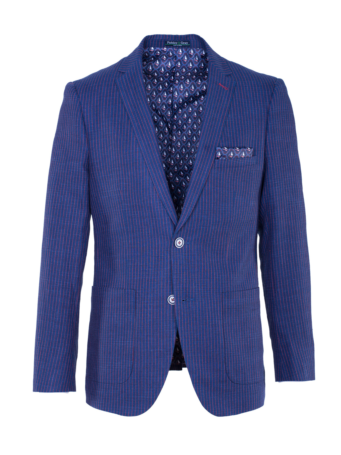Dover Notch Blazer - Navy & Red Stripe