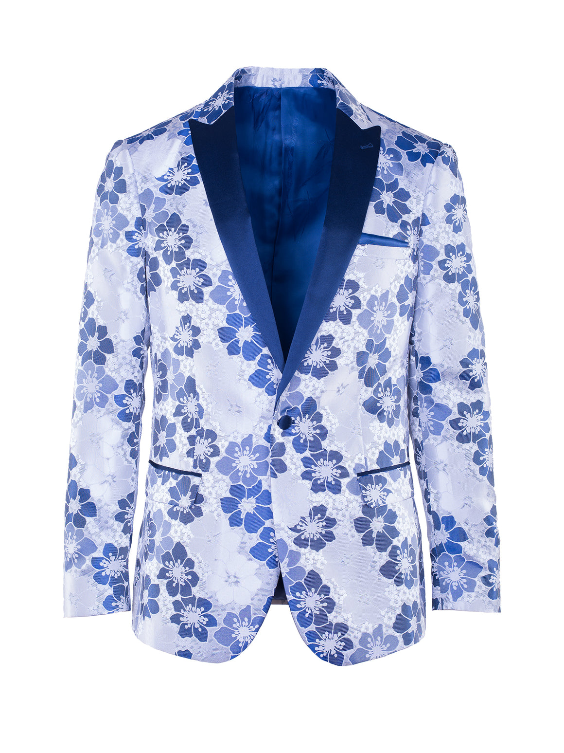 Grosvenor Peak Tuxedo Jacket - White & Blue Floral Jacquard