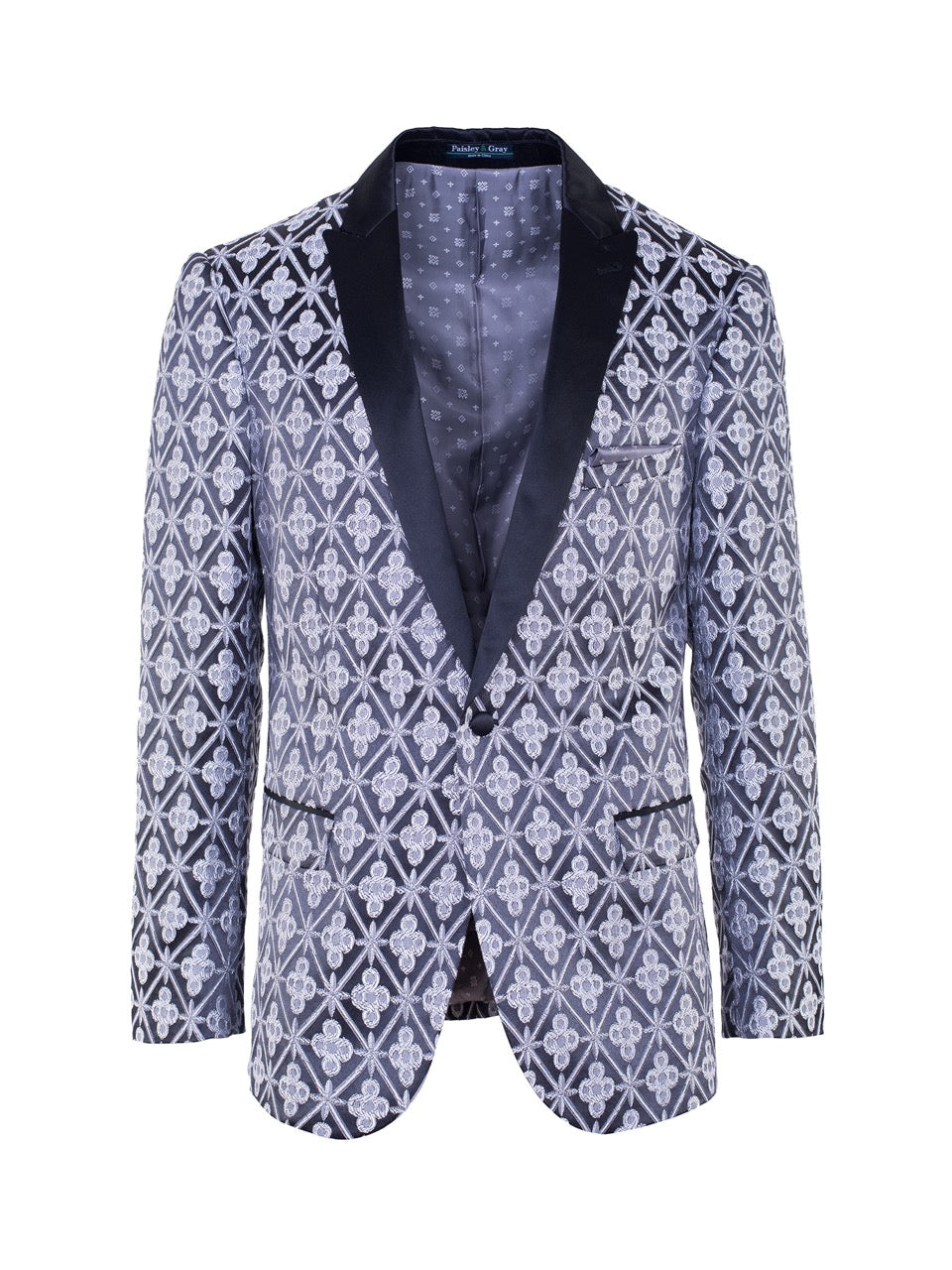 Grosvenor Peak Tuxedo Jacket - Black & Silver Brocade