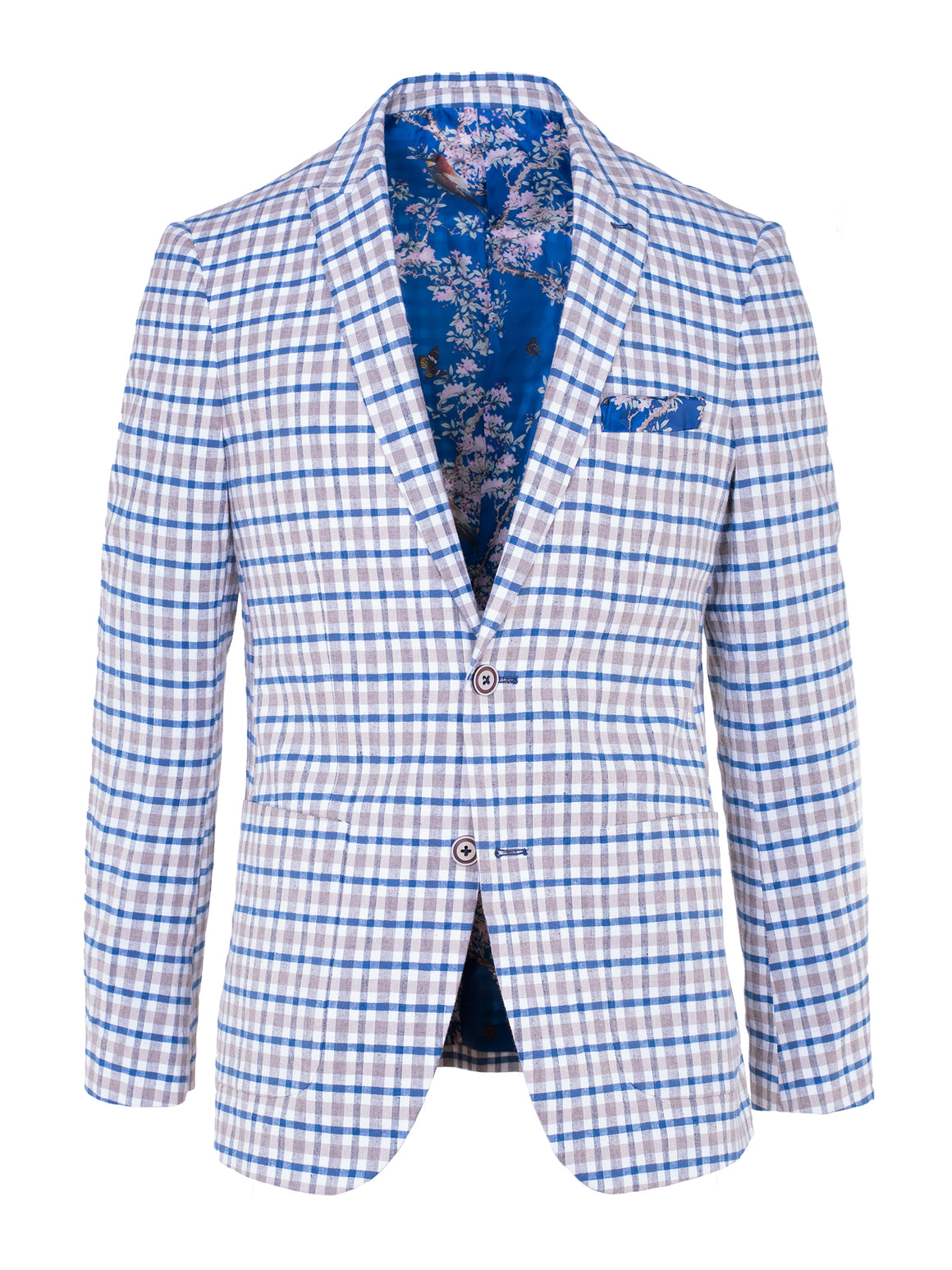 Ashton Peak Blazer - Tan & Blue Plaid