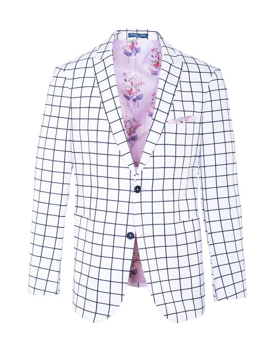 Ashton Peak Blazer - White & Black Windowpane