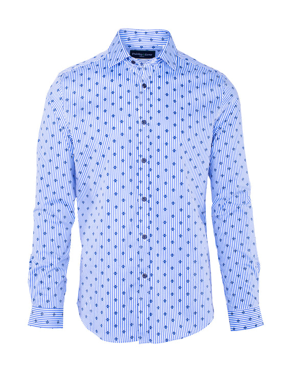 Slim Fit Fleur De Lis Shirt - White & Blue Stripe Print
