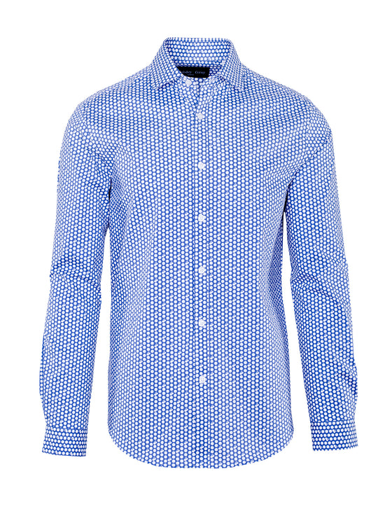 Slim Fit Blue Cherry Shirt - White & Blue Print