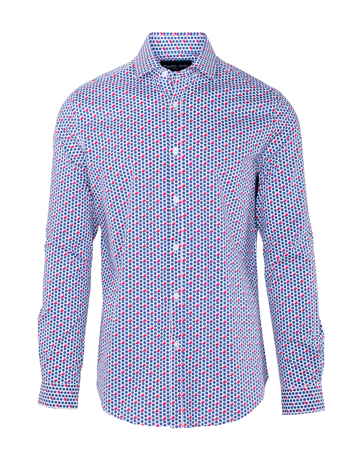 Slim Fit Cherry Pop Shirt - Red White & Blue Print