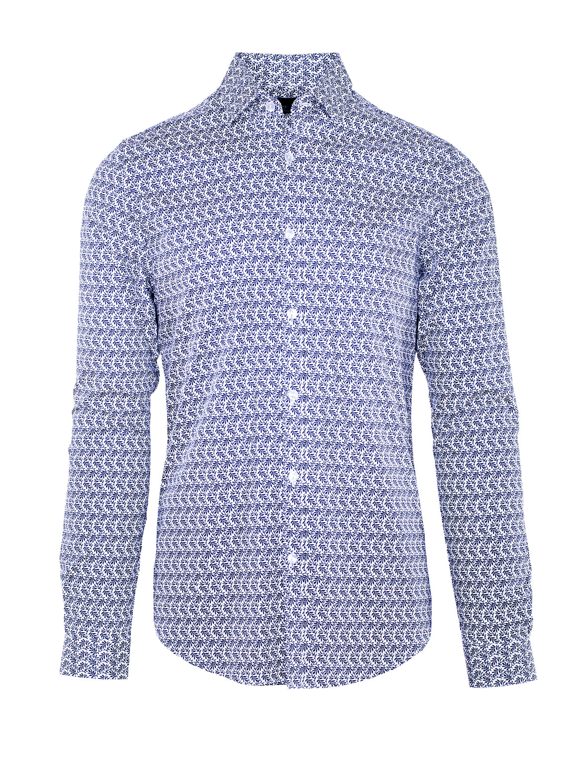 Slim Fit Leafly Shirt - White with Blue Leaf Print