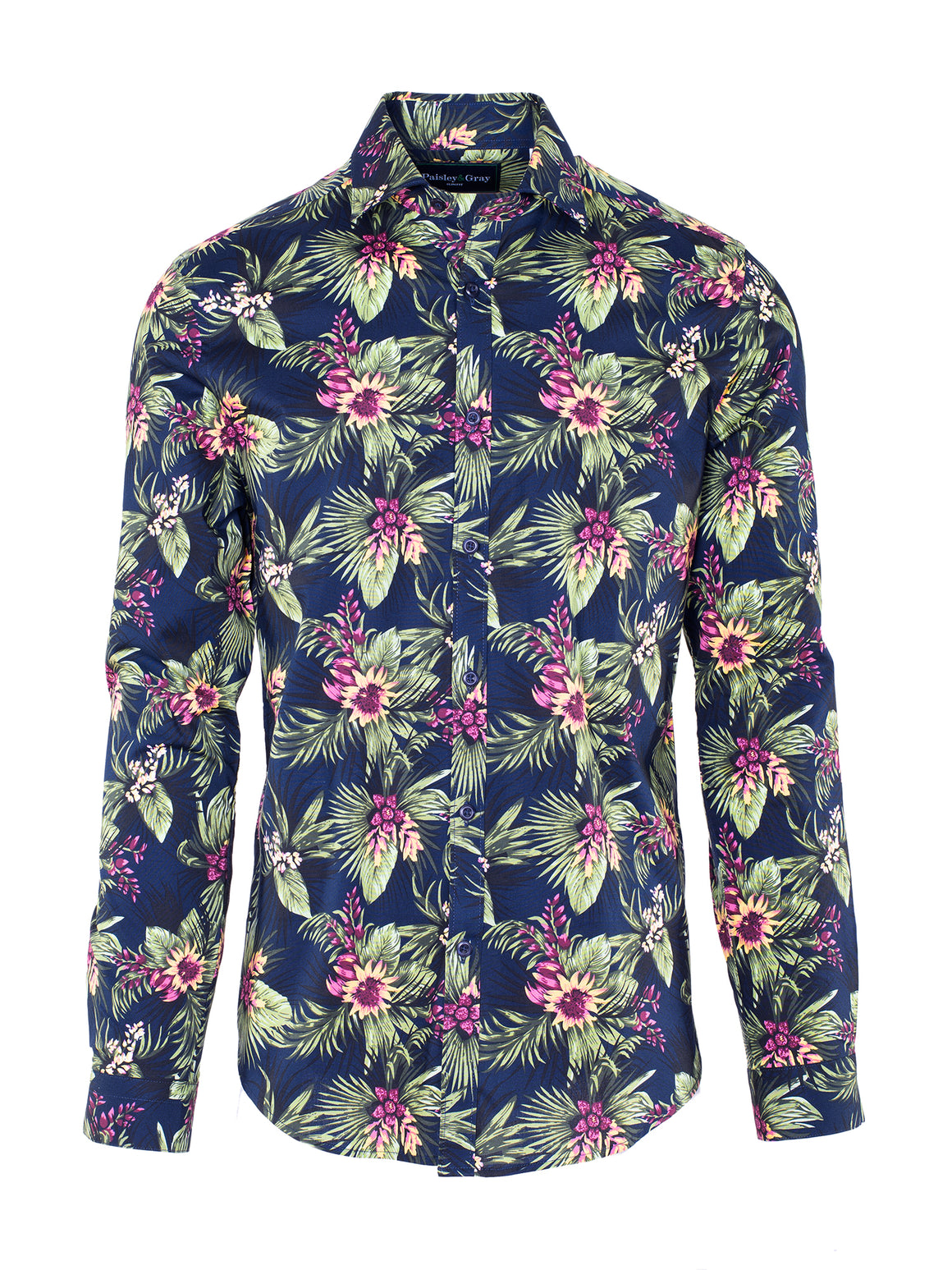 Slim Fit Tropical Shirt - Navy Floral Multi Print