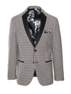 Osborne Notch Tuxedo Jacket - Black & White Houndstooth
