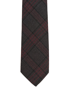 Stanley Slim Tie - Charcoal Maroon Plaid