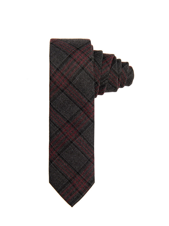 Slim Tie - Charcoal Maroon Plaid