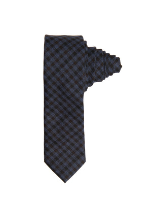 Slim Tie - Navy Fall Gingham