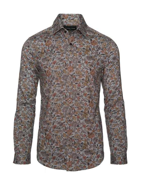 Slim Fit Shirt - Grey Gold Floral